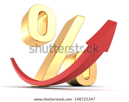 Golden percentage symbol with red arrow up - stock photo