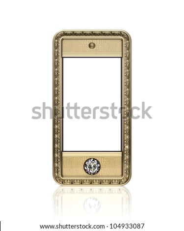 Golden phone with  blank touch screen and the diamond button for VIP  isolated on white background (front version) - stock photo