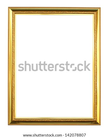 golden picture frame on white background - stock photo
