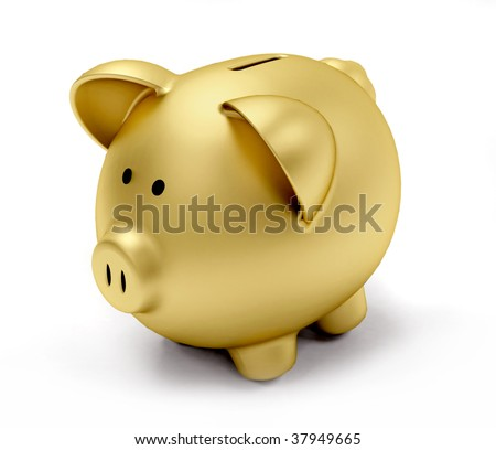 Golden piggy bank isolated over a white background - stock photo