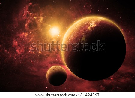 Golden Planet - Elements of This Image Furnished By NASA - stock photo