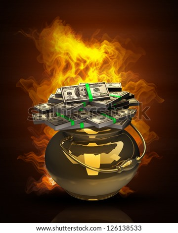 Golden pot full of dollars high resolution 3d illustration - stock photo