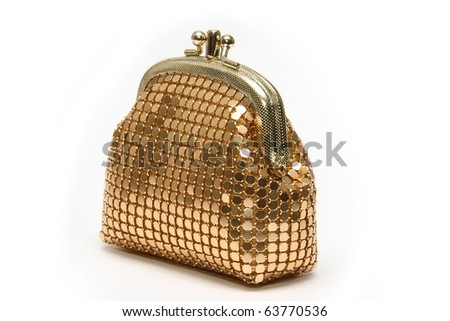 Golden pouch - stock photo