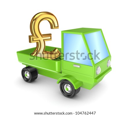 Golden pound sterling sign in a green truck.Isolated on white background.3d rendered. - stock photo