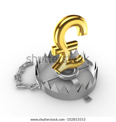 Golden pound sterling  sign on a trap.Isolated on white background.3d rendered. - stock photo