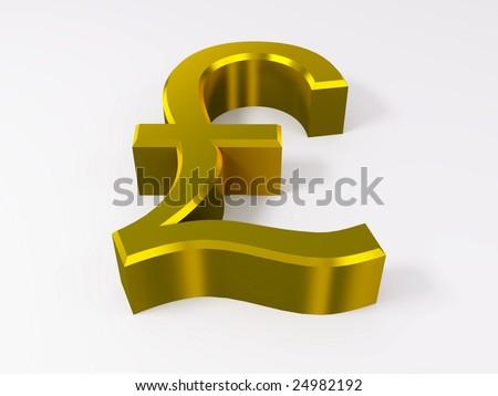 Golden pound symbol isolated on white 3d render - stock photo