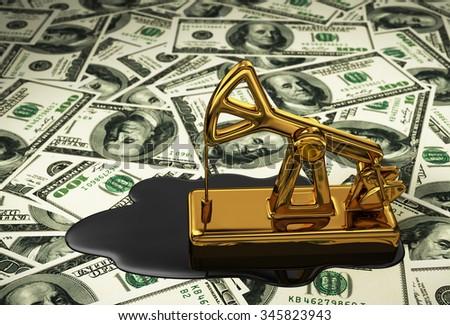 Golden Pumpjack And Spilled Oil On The Dollars. 3D Scene. - stock photo