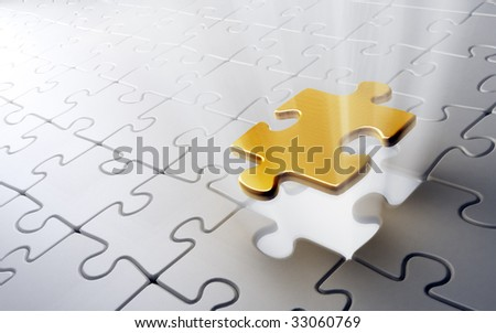 Golden puzzle piece - stock photo