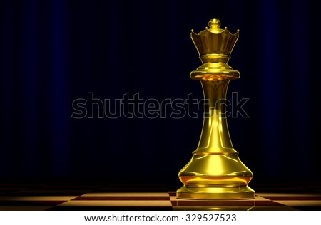 Golden Queen on a chessboard background luxury. - stock photo