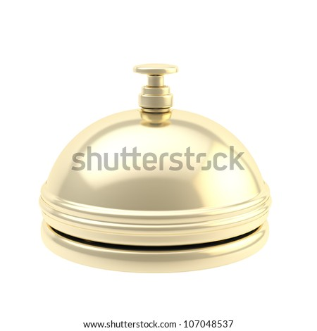 Golden reception bell shiny with reflections isolated on white - stock photo