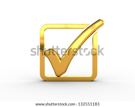 Golden rectangle with check mark - stock photo