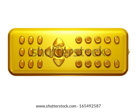 golden remote control front view - stock photo