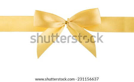 golden ribbon isolated, cutout - stock photo