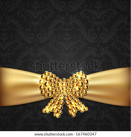 Golden ribbon with diamond bow decoration on ornate background - raster version - stock photo