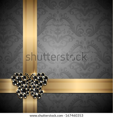 Golden ribbons with diamond butterfly decoration on ornate background - raster version - stock photo