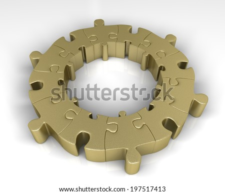 Golden ring of jigsaw puzzle - stock photo