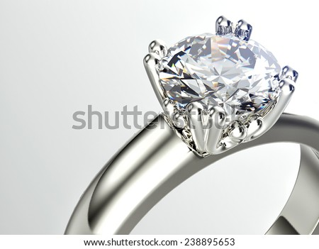 Golden  Ring with Diamond. Jewelry background - stock photo