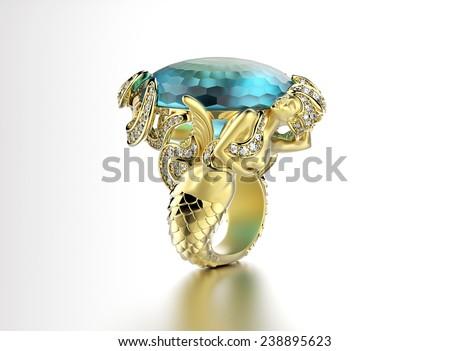 Golden  Ring with Diamond. Jewelry background. aquamarine gemstone - stock photo