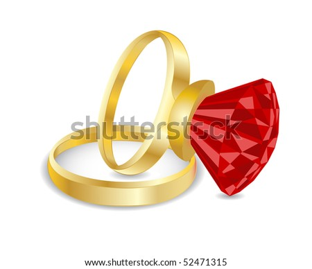 Golden rings. - stock photo