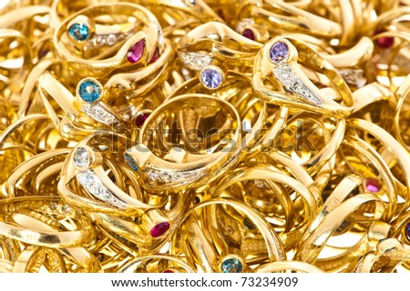 Golden rings collection - stock photo