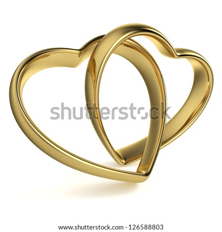 Golden rings in the shape of a heart linked together on white background. Computer generated image with clipping path. - stock photo