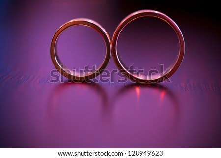 golden rings on the table - stock photo