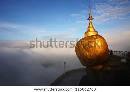 Golden rock mist in the morning, Kyaiktiyo Pagoda in Yangon, Myanmar - stock photo