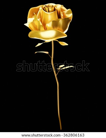 golden rose 3d - stock photo