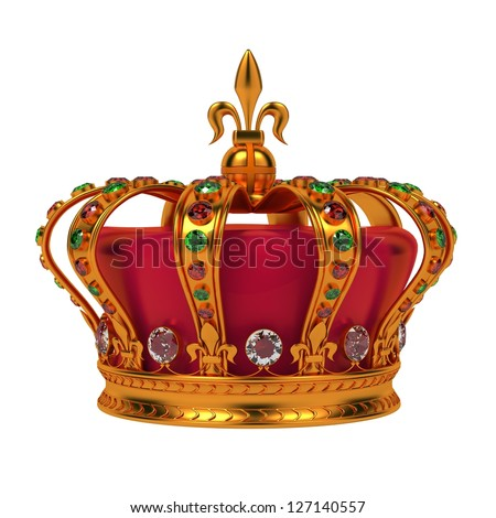 Golden Royal Crown Isolated on White Background. - stock photo