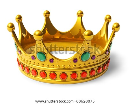 Golden royal crown isolated on white background - stock photo
