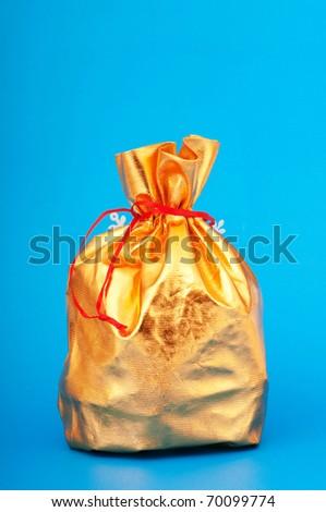 Golden sacks full of something good - stock photo
