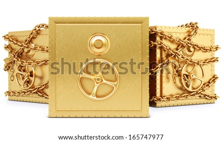 golden safe in chains. isolated on white background. - stock photo