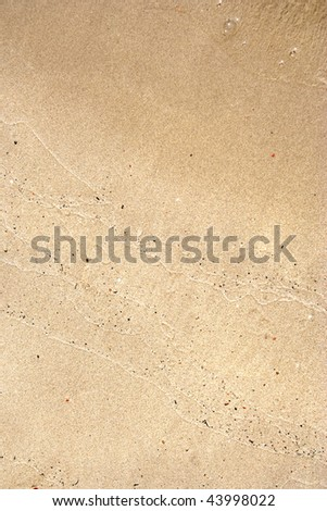 Golden sand background just brushed by a wave - stock photo