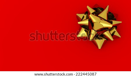 golden satin ribbon isolated on red background - stock photo