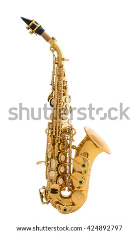 Golden Saxophone. Classical Music Wind Instrument Isolated on White Background - stock photo
