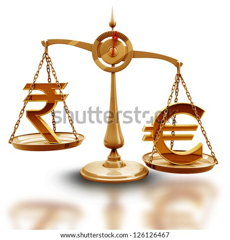 Golden Scale with symbols of currencies Euro vs Indian rupee isolated on white background High resolution 3d render - stock photo