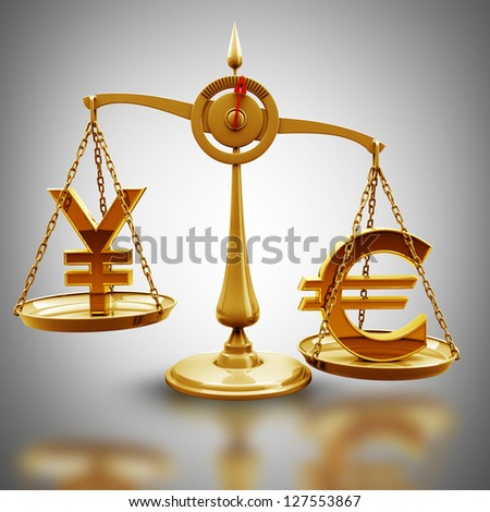 Golden Scale with symbols of currencies Euro vs Japanese yen  High resolution 3d render - stock photo