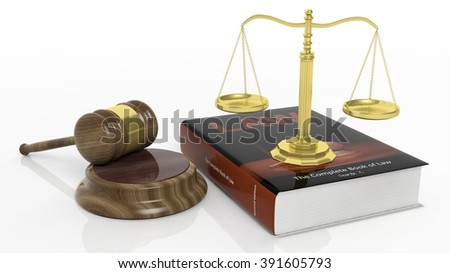 Golden scales, law manual and court hammer on white background - stock photo