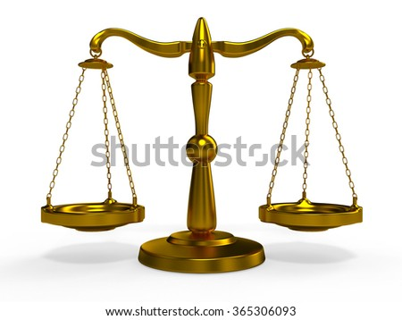 Golden scales of justice Themis - stock photo