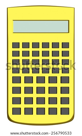 Golden scientific calculator without text on buttons isolated on white background - stock photo