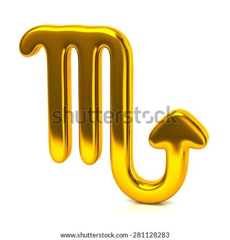 Golden scorpio zodiac sign isolated on white background - stock photo