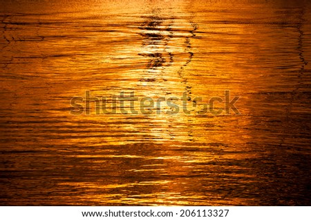 Golden sea surface with ripples - stock photo