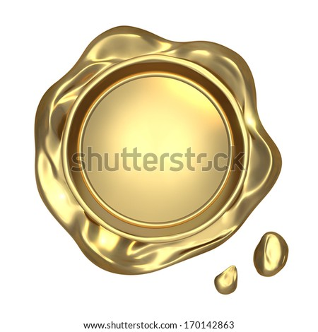 Golden seal wax - isolated on white background  - stock photo