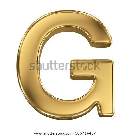 Golden shining metallic 3D symbol letter G - isolated on white - stock photo
