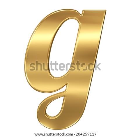 Golden shining metallic 3D symbol letter g - lowercase isolated on white. - stock photo