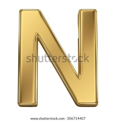 Golden shining metallic 3D symbol letter N - isolated on white - stock photo
