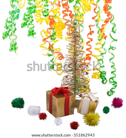Golden shiny tree with gifts, decorative balloons and confetti - stock photo