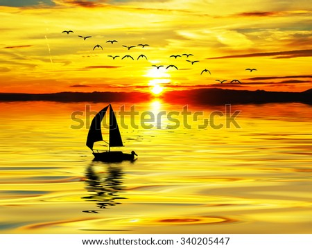 golden ship at sea - stock photo