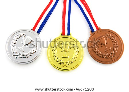 Golden silver and bronze medals isolated over white - stock photo