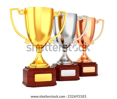 Golden, silver and bronze trophy cups isolated on white background. Three award goblet trophies in row. - stock photo